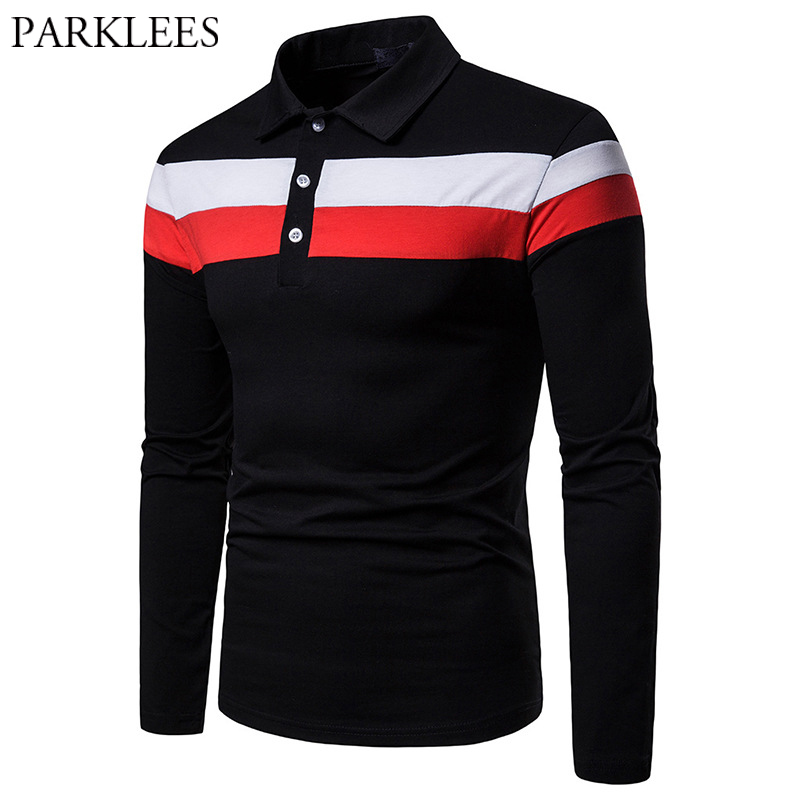 Black Modal Sport   Polo   Shirt Men Hit Color Stripe Patchwork Male Business Casual   Polo   Shirts Long Sleeve Slim Fit   Polo   Homme XXL