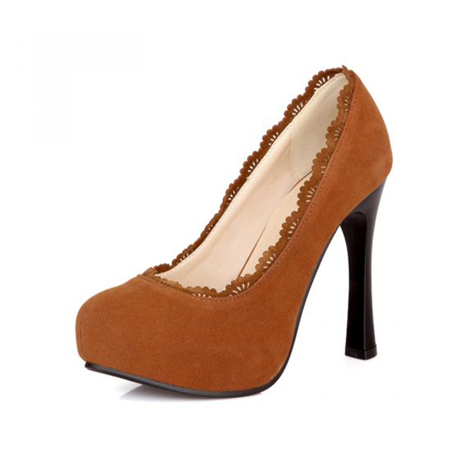 New Fashion Round Toe Platform High Heels Women Shoes Vintage Flock Big Size 34-48 Women Pumps Sexy Ladies Elegant Wedding Shoes