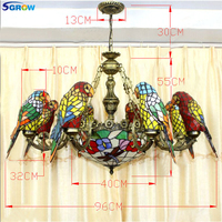 SGROW Stained Glass Parrot Birds Pendant Lights Hand made Tiffany Hanging Lamp Indoor Lighting Fixtures for Living Room Lampara