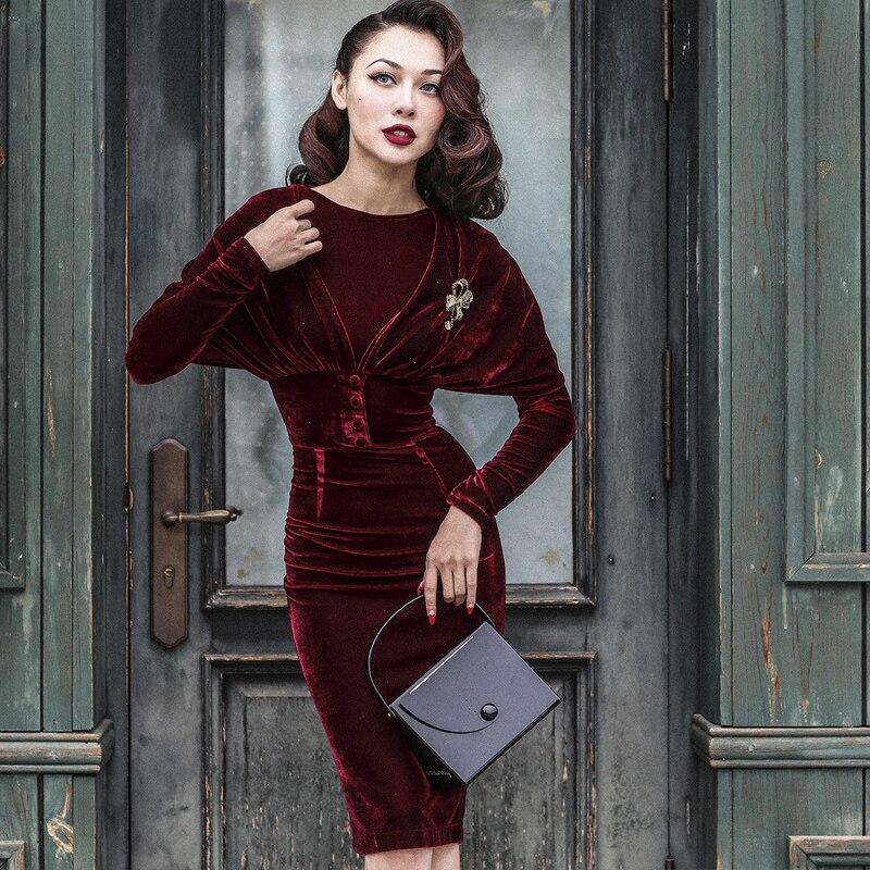 40- le palais vintage 50s velvet wiggle pencil dress in burgundy elegant  vestidos with cape women plus size pinup dresses jurken 200130bc7882