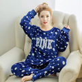 2016 Women Ladies Home Nightclothes Sets Long Sleeve O-neck Sweatshirts+ Pants Cartoon Warm Fleece Soft Pajama Sleep Suits