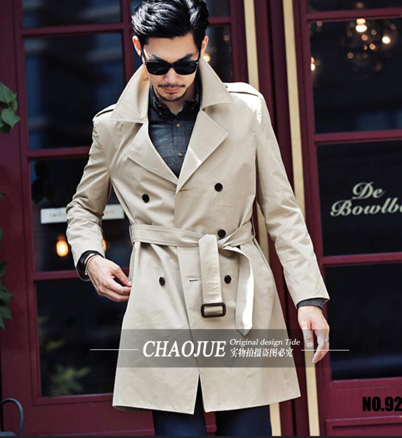 New Fashion font b Men s b font Slim British Style Belt Double breasted Trench Coat