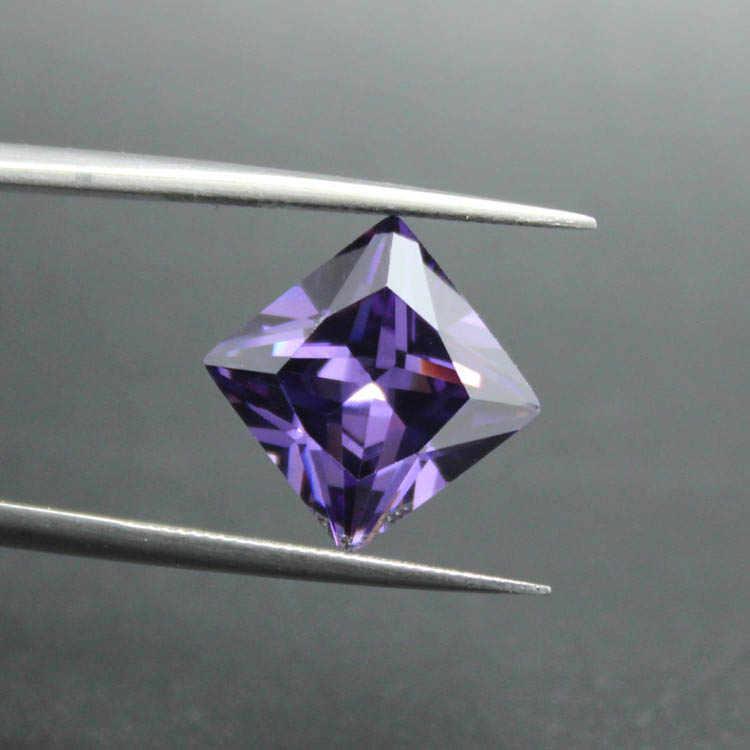 Bentuk persegi princess cut Purple Cubic Zirconia CZ dibuat gemstone beads untuk perhiasan membuat DIY brilliant berlian longgar batu