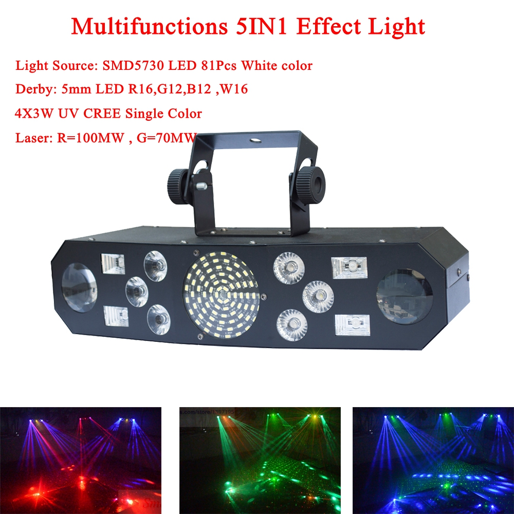 Professional 5IN1 Pattern Effect RGBW Audio Star Whirlwind Laser Projector Stage Disco DJ Club Bar KTV Family Party Light Show-in Stage Lighting Effect from Lights & Lighting    1