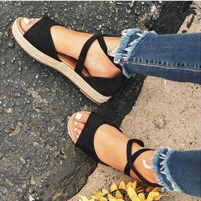 HTB1ly68bjzuK1RjSspeq6ziHVXaa LAAMEI 2019 New Women Sandals Fashion Peep Toe  Design Roman Sandals Women Flat Shoes Summer Beach Ladies Shoes Sandals