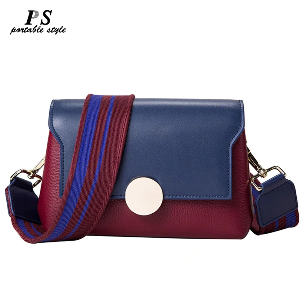Fashion 100% Genuine Leather Women Messenger Bag Contrast Color Ladies Crossbody 2 Straps Bolso Mujer Wide Straps Shoulder Bag