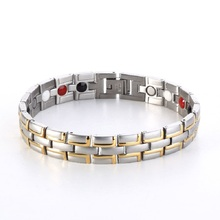 Men's Healthy Healing Magnetic Stainless Steel Germanium 4 in 1 Bracelet Gold Color Fashion Jewelry Energy Bracelets & Bangles