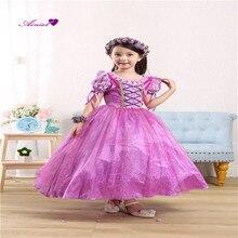 Chicas sofia princesa tangled dress cosplay halloween (dress + guante) partido cosplay de la manera bola púrpura ropa cs18060