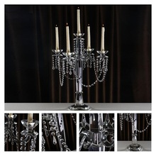 Hot Crystal Candle Holders 5-Arms Stand Handmade Glass High Quality Pillar For Wedding Portavelas Candelabra