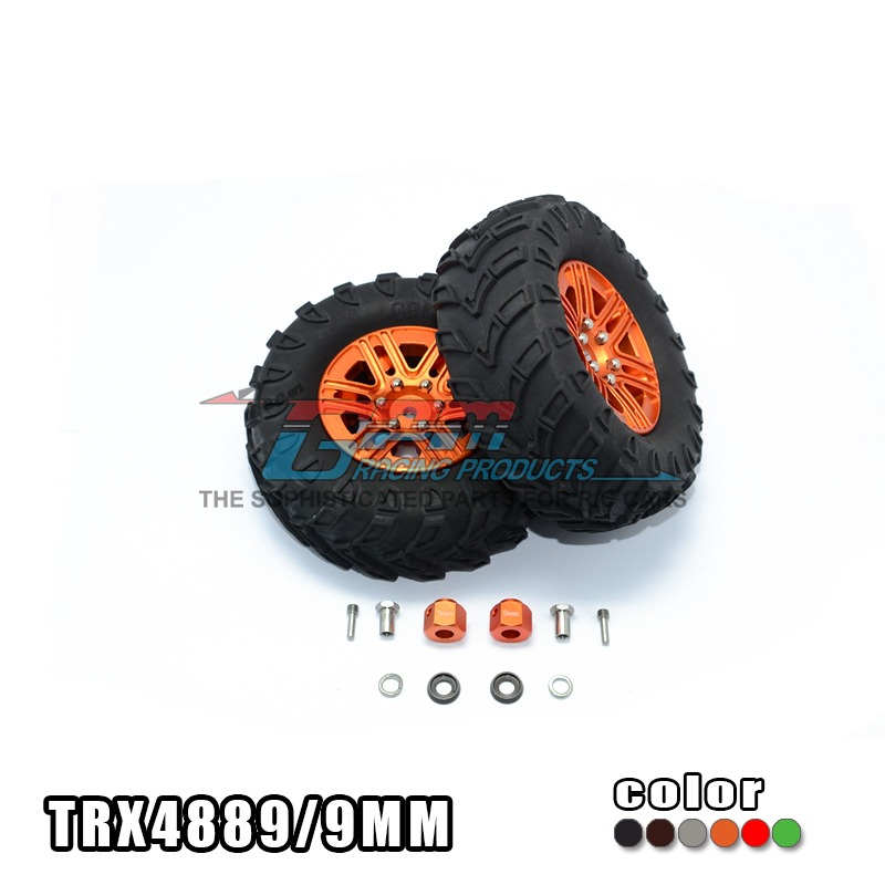 TRAXXAS TRX-4 TRX4 82056-4 1.9 inch aluminum alloy car hub+steering tire 9mm thick hex adapter street car style-set TRX4889/9MM traxxas trx 4 trx4 82056 4 pure copper pendulum wheels knuckle axle rotary type weight 21mm hex adapter set trx4023xx
