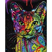 Framelessนามธรรมที่มีสีสันแมวสัตว์ภาพวาดDIYโดยตัว