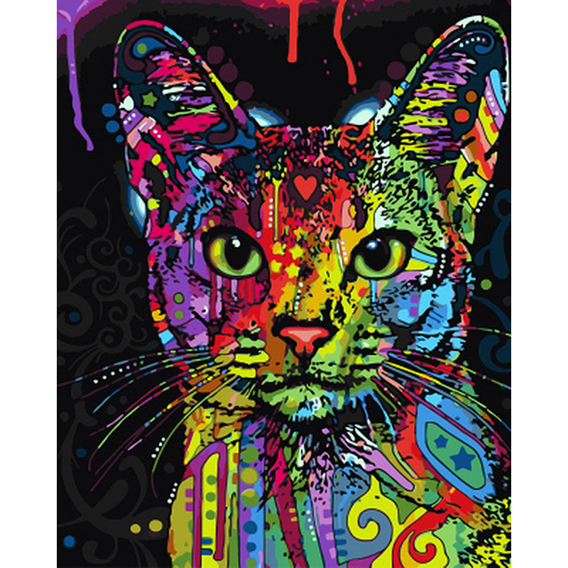 Frameless Abstract Colorful Cat Animals DIY Painting By Numbers Hand - Hiasan rumah