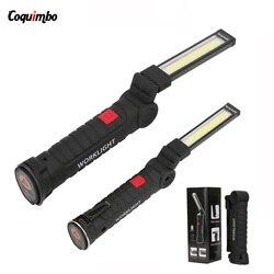 5 modi Auto Tragbare LED Taschenlampe Magnetische USB Aufladbare Taschenlampe COB Arbeit Licht Hängen Haken Lanterna Für Outdoor Camping