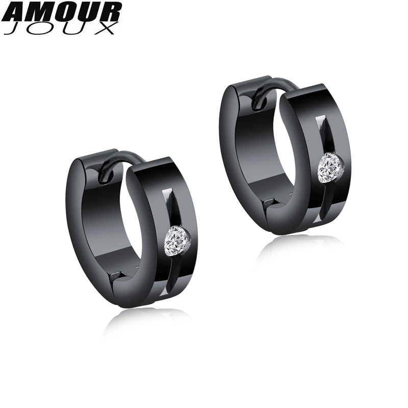 AMOURJOUX Fashion White Black Gold Color Polished 316L Stainless Steel Stud Earrings for Women Men Studs Female Earring