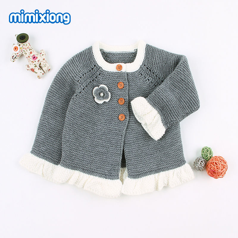 1818d3976f19 Baby Sweaters for Girls Cardigans Pink Flower Newborn Knitted ...