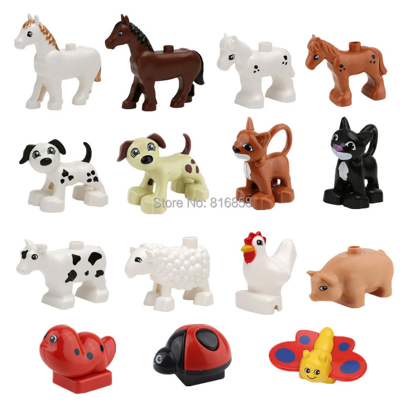 In stock! Animals Building Blocks Dog Cat Cow Sheep Cock Pig Butterfly Pony Children Role Play Toys Baby Learning Toys funlock duplo blocks toys farm animal figures bunny cat dog cow pony pig sheep rooster educational toys for kids gifts
