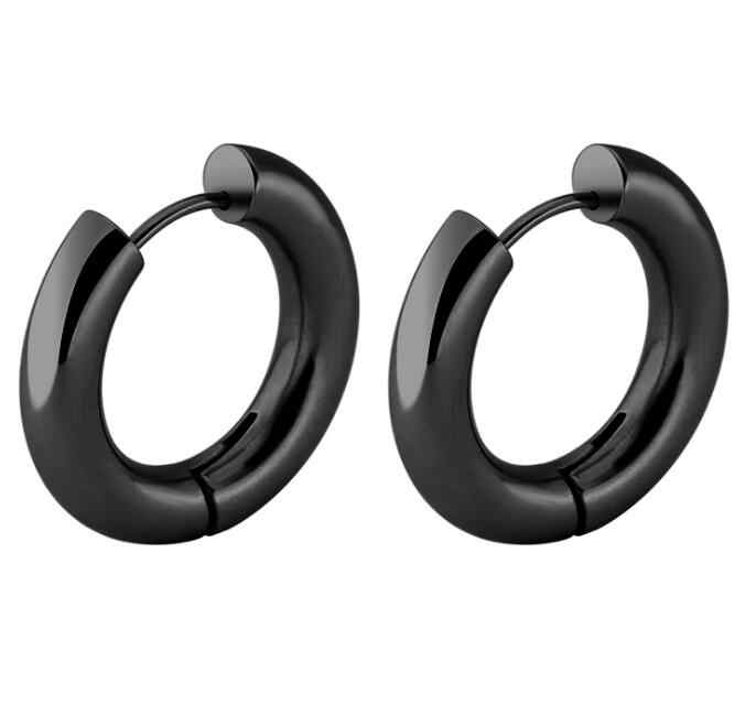 1a008bb0e ... 2 pieces Gold Silver Black 316L Stainless Steel Round 5mm Thickness  Hoop Earrings Korean Cute Small