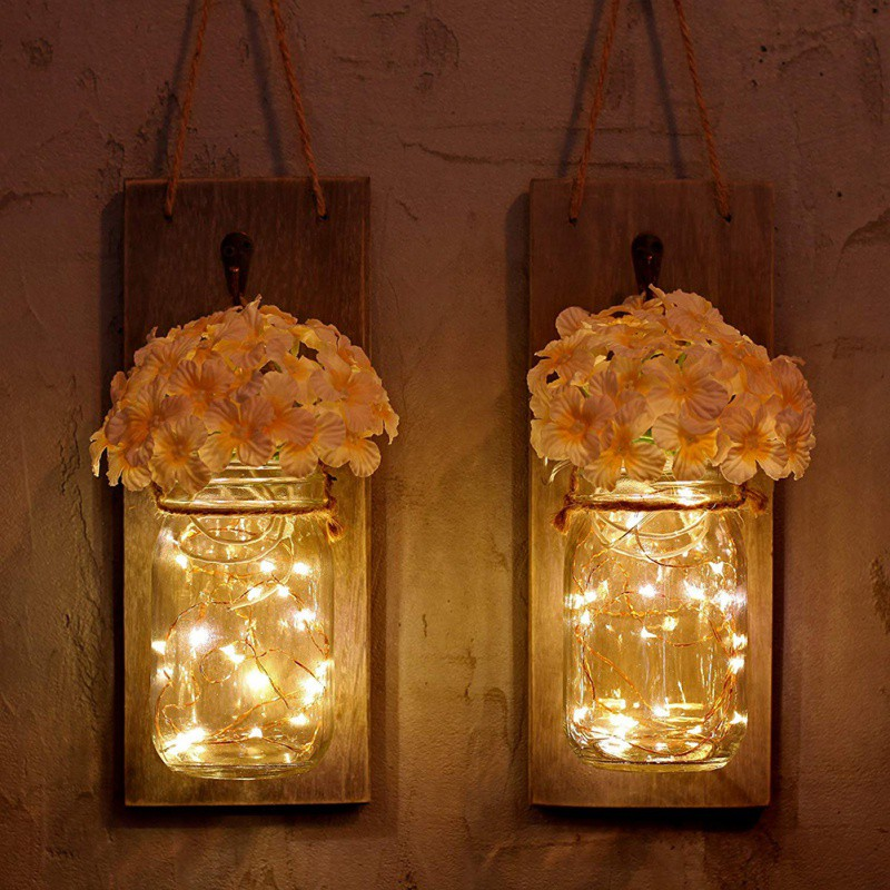 Light Garland Wall-Lamp Flower-Decor Mason-Jar Wall-Sconces Fairy Rustic Fake Led-String