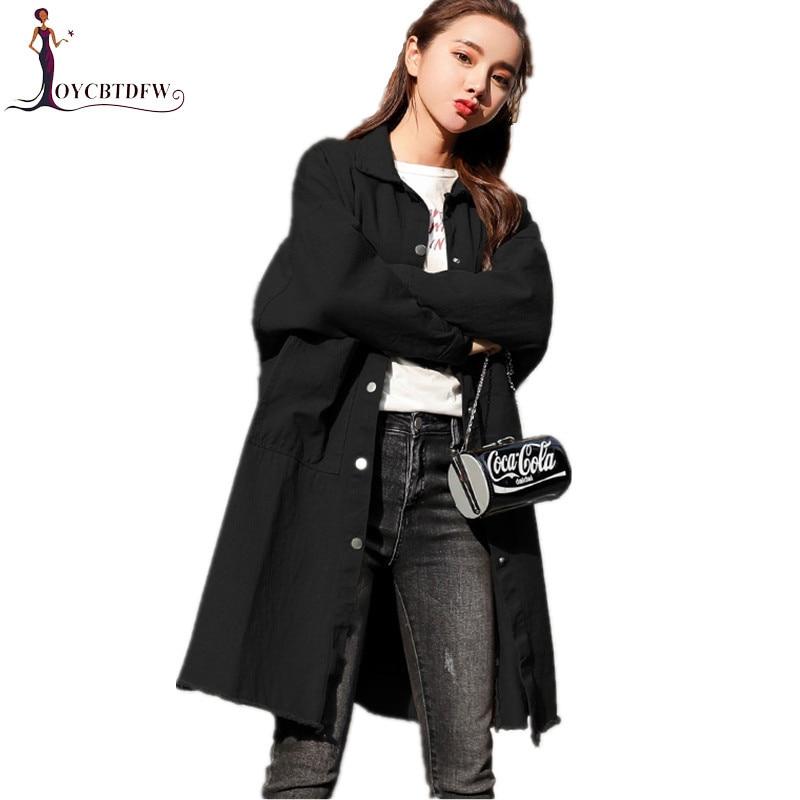vent Black Lâche Longue Nouveau Taille Automne Denim Printemps Femmes Coupe Manteau Mi Simple khaki Tranchée Fashion431 Grande 2018 Occasionnel Femelle nS1AwPfqn
