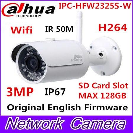Dahua IPC-HFW2325S-W 3MP IR50M IP67 built-in WIFI SD Card slot Network outdoor WIFI Camera replace IPC-HFW1320S-W IP Camera dahua ip wifi easy4ip camera 3mp ipc hdbw1320e w wifi camera p2p cctv camera micro sd card slot up to 128gb
