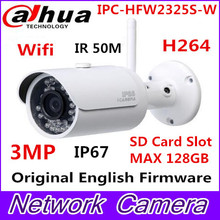 Dahua IPC-HFW2325S-W 3MP IR50M IP67 built-in WIFI SD Card slot Network outdoor WIFI Camera replace IPC-HFW1320S-W IP Camera