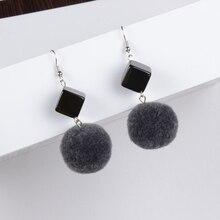 Plush ball metal color matching maomao of wool long dangler earrings E880-5 Temperament is contracted eardrop ear clip