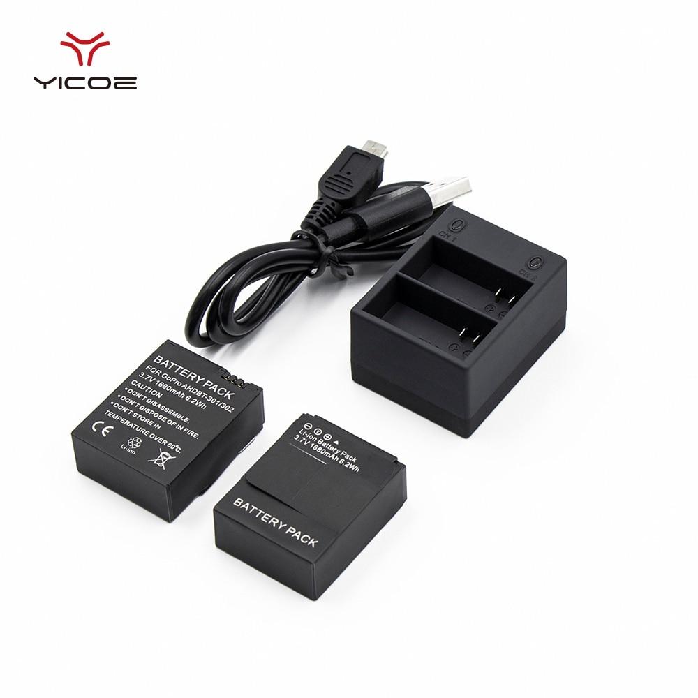 2 unids batería de 3,7 V 1680 mAh Hero3 batería + cargador Dual USB para Gopro héroe 3 Go Pro Hero 3 + acción del deporte de la Cámara Accesorios
