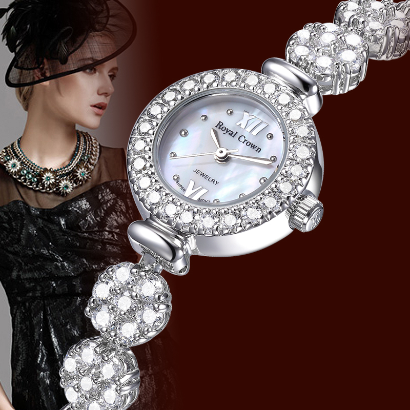Women's Watch Japan Quartz Fashion Luxury Jewelry Crystal Hours Mother of pearl Bracelet Rhinestone Girl Gift Royal Crown Box-in Women's Watches from Watches    2