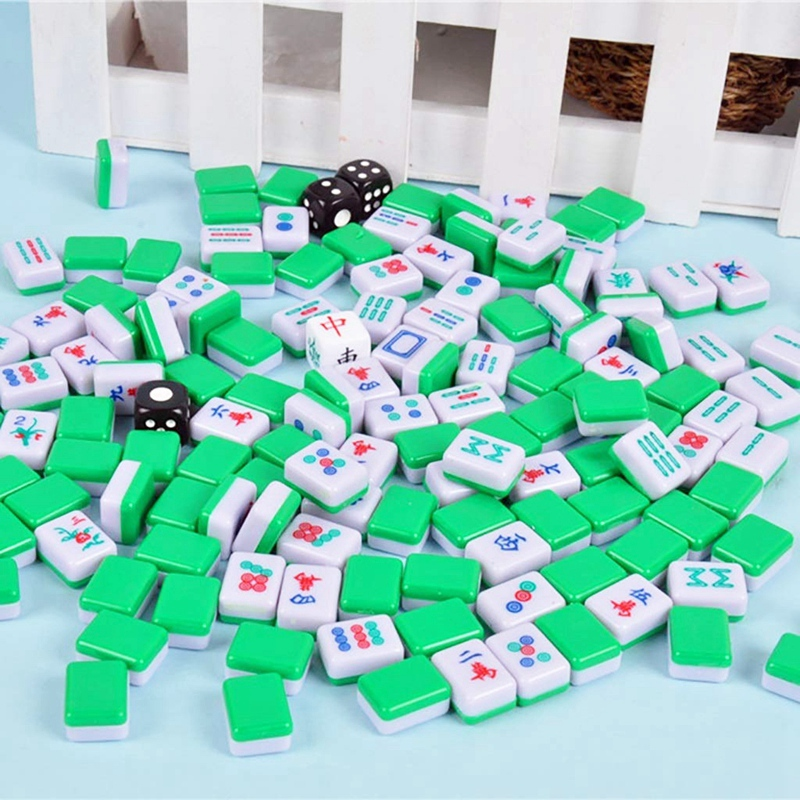 Hot-New Mini Mahjong Chinese Family Board Games Portable Mahjong Set Chinese Antique Mini Mahjong Game Family Games