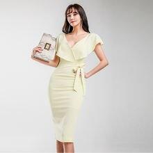 Женское однотонное платье карандаш желтое повседневное офисное