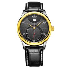 BUREI 3033 Switzerland watches Men's Stainless Steel Watch with Black gold Leather Strap and Black Face