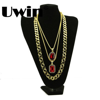 Luxury Full Iced Out Necklace With Beautiful Rhinestone Pendant 2016 Gold Color Ice Out Bling Bling Hiphop Necklace Set