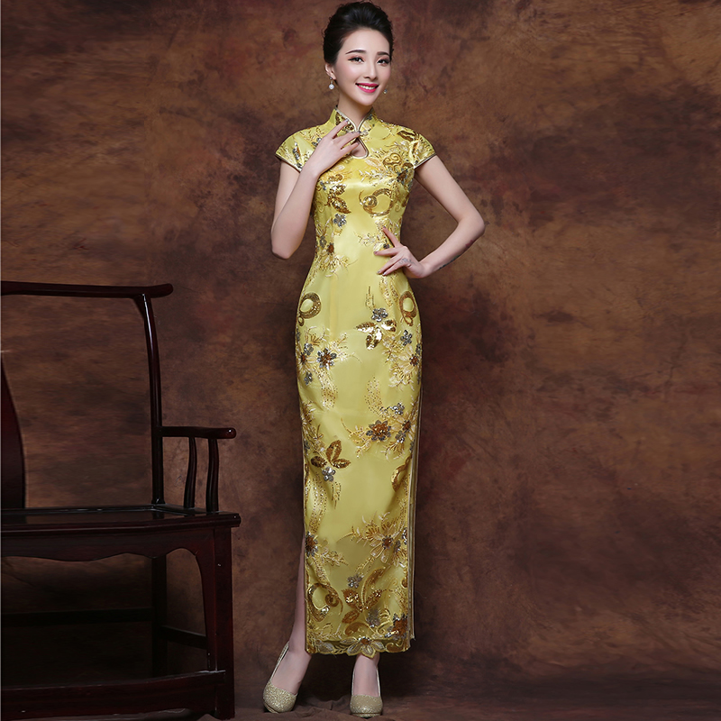 2016 Fashion Yellow Lace Bride Wedding Qipao Long Cheongsam Chinese Traditional Dress Qi Pao Women Antique Dresses 6 Color