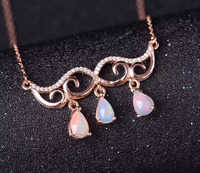 Natural opal Necklace natural gemstone Pendant Necklace S925 silver Fashion Elegant Angel eyes girls women party fine Jewelry