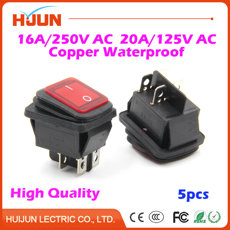 5pcs 4Pin On-Off-On Copper Boat Rocker Switch Waterproof Cap Red Light 16A/250VAC 20A/125VAC Car Dash Dashboard Truck RV ATV on the open shanghai wing star ship switch kcd6 21n f ip65 waterproof switch 6a 4 foot red 220v