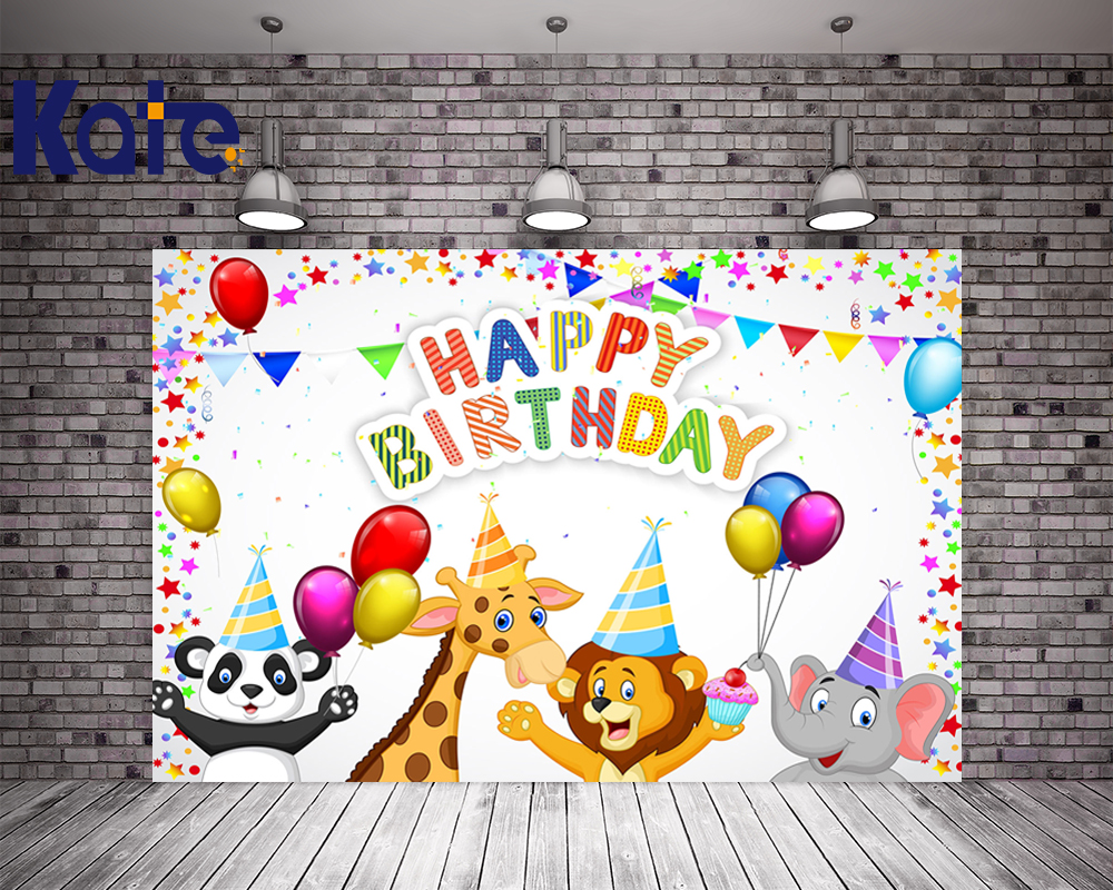цена на 5X7FT Kate Children Happy Birthday Photography Backgrounds Colorful Flags Backdrops Animals Balloons Backgrounds Photo Studio