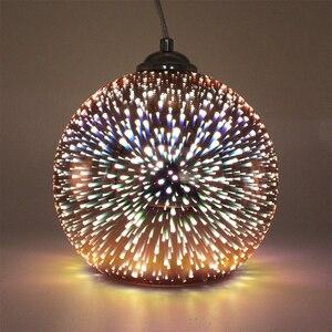 Image 5 - ZMISHIBO ثلاثية الأبعاد الألعاب النارية الزجاج قلادة أضواء LED E27 مصباح معلق عاكس الضوء غرفة المعيشة غرفة الطعام تركيبات إضاءة ديكوريّة منزلية