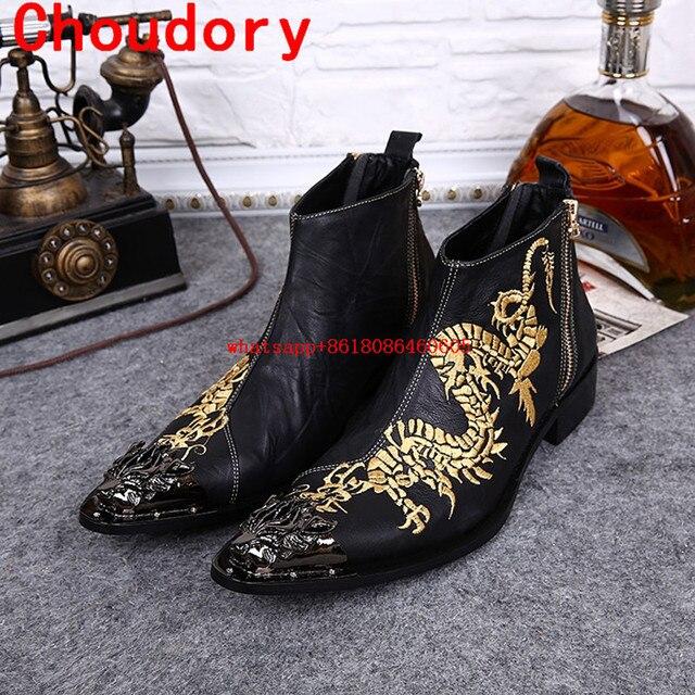 9185f39fb4 Botas militares hombre de aço do dedo do pé pontudos ouro bordar cowboy  botas sapatos zíper