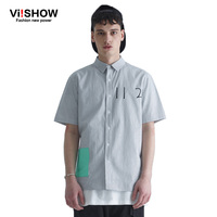 Viishow Summer Mens Shirt New Fashion Short Sleeve Striped Shirt Outdoor Male Casual Fitness 100 Cotton