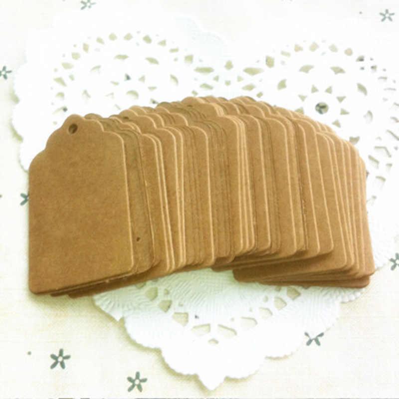 100 etiquetas de papel Kraft de unids/set etiquetas de cabeza de vieira equipaje de boda nota DIY en blanco precio etiqueta colgante regalo artesanal -pintado tarjeta