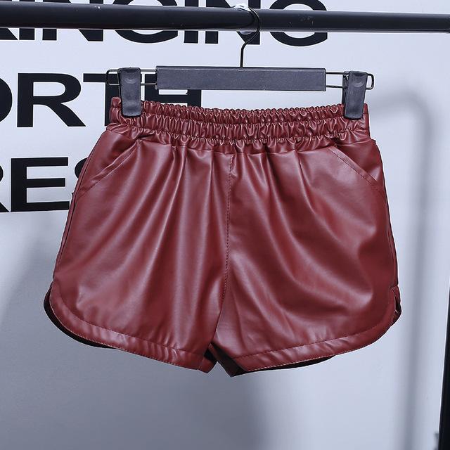 S-XXL Plus Size New Summer Pu Leather Casual Women Shorts Elastic Waist Workout Loose Women's Sportwear Pocket High Waist Shorts