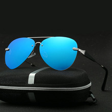 New Brand  Designer Sun Glasses Pilot  Men Sunglasses Metal Rimless Male Glasses Frame Polarized Eyewear Gafas With Case