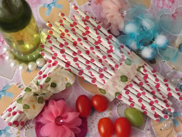 Hot selling Rose pink polka dots Paper Straws Banquet drinking straws baby shower/valentine/wedding party supply straw