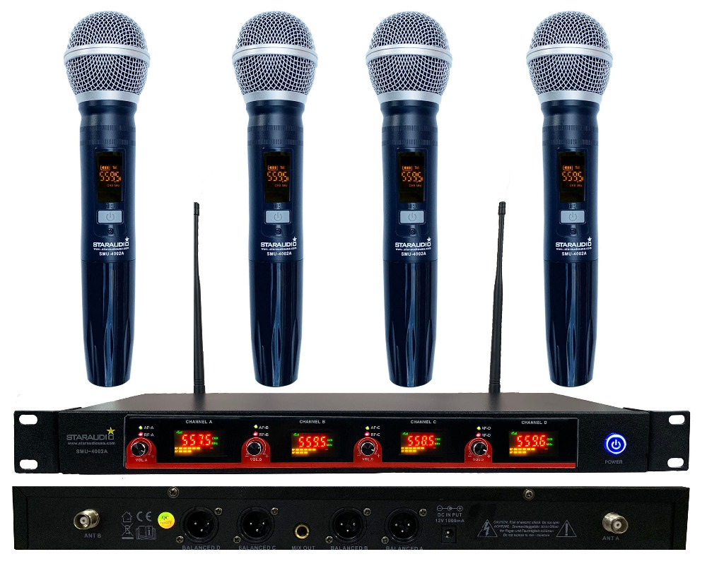 buy staraudio 4 channel wireless uhf diversity ir handheld microphone system. Black Bedroom Furniture Sets. Home Design Ideas