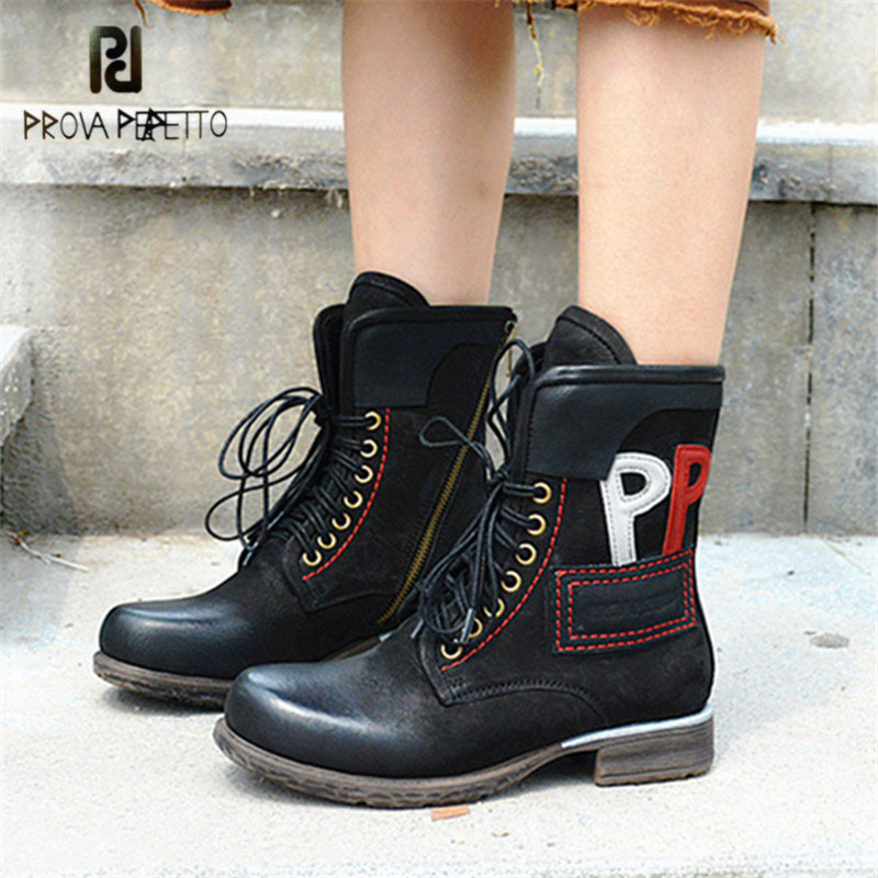 Prova Perfetto Retro Women Martin Boots Black Lace Up Genuine Leather Handmade Ankle Boots for Women Flat Rubber Shoes Woman new gd80eh10j g gd 80e01 touch screen panel perfect quality