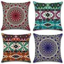 1Pc Mandala Pattern Cushion Cover Bohemian Style Geometric Decorative Pillowcase Sofa Car Home Office Throw Pillow Case
