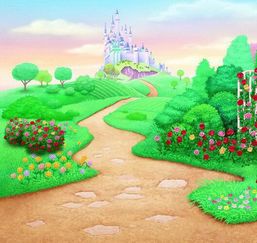Wonderland Vinyl Cartoon Flower Grassland Castle
