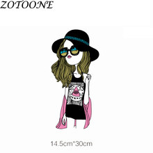 ZOTOONE Sexy Fashion Girl Applique Iron on Patches for Clothing Bag Custom Heart Transfers Patch Clothes Star  Witchcraft