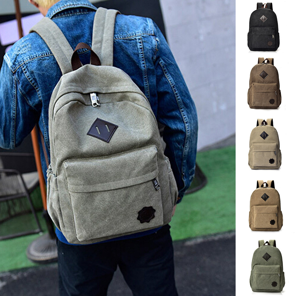 anti-theft backpack Neutral Canvas Backpack School Lady Men Travel Student School Laptop Bag  Preppy Style Soft  Teenage