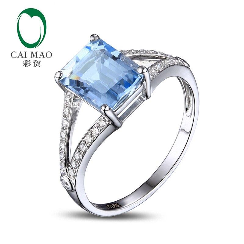 Caimao 2,42ct Emerald Cut 7x9mm Blue Aquamarine Pave Diamond 14k Gold zásnubní prsten
